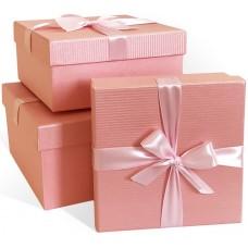 Набор коробок Атласный бант, Текстурные полоски, Розовый, Перламутр, 21*21*11 см, 3 шт.
