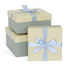 Набор коробок Голубой бант, Слоновая кость, 21*21*11 см, 3 шт.