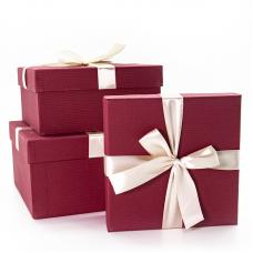 Набор коробок Жемчужный бант, Бордовый, 21*21*11 см, 3 шт.