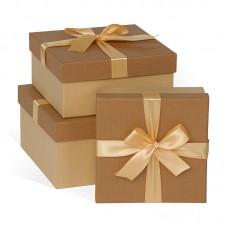 Набор коробок Бежевый бант, Ореховый, 21*21*11 см, 3 шт.