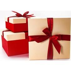 Набор коробок Красный бант, Слоновая кость, 21*21*11 см, 3 шт.