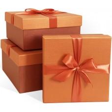 Набор коробок Атласный бант, Текстурные полоски, Оранжевый, Перламутр, 21*21*11 см, 3 шт.