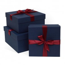 Набор коробок, Бордовый бант, Синий, 21*21*11 см, 3 шт.