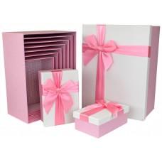 Набор коробок Атласный бант, Текстура рогожки, Розовый, 34*26*15 см, 10 шт.