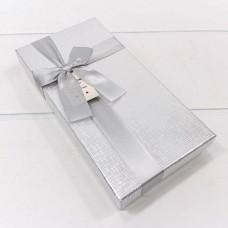 Коробка подарочная Атласный бант, Серебро, Металлик, 22*11*4 см, 1 шт.