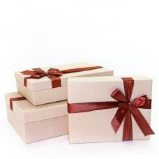 Набор коробок, Шоколадный бант, Бежевый, 29*19*8 см, 3 шт.