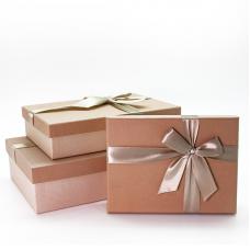 Набор коробок Бежевый бант, Капучино, 29*19*8 см, 3 шт.