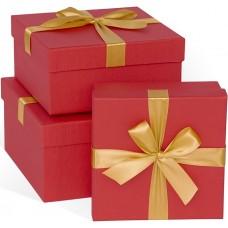 Набор коробок Золотой бант, Красный, 21*21*11 см, 3 шт.