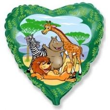 Шар (18''/46 см) Сердце, Друзья в джунглях, Зеленый, 1 шт.