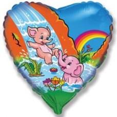 Шар (18''/46 см) Сердце, Веселые слонята, 1 шт.