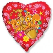 Шар (18''/46 см) Сердце, Счастливые белки, Красный, 1 шт.