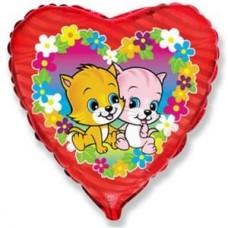 Шар (18''/46 см) Сердце, Коты с цветами, Фуше, 1 шт.