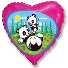 Шар (18''/46 см) Сердце, Забавная панда, Фуше, 1 шт.