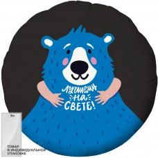 Шар (18''/46 см) Круг, Лучшему на свете! (синий мишка), Черный, 1 шт. в упак.