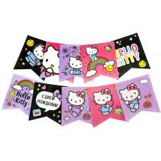 Гирлянда Флажки, Hello Kitty, С Днем Рождения!, Ассорти, 300 см, 1 шт.