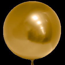 Шар (18''/46 см) Сфера 3D, Deco Bubble, Золото, Хром, 10 шт.