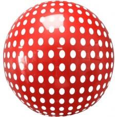 Шар (18''/46 см) Сфера 3D, Deco Bubble, Белые точки, Красный, 1 шт. в упак.