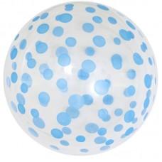 Шар (18''/46 см) Сфера 3D, Deco Bubble, Голубое конфетти, Прозрачный, Кристалл, 50 шт.