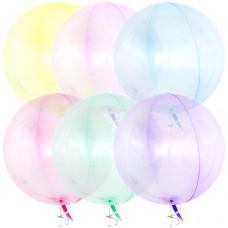 Шар (18''/46 см) Сфера 3D, Deco Bubble, Ассорти, Кристалл, 60 шт.