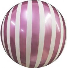 Шар (18''/46 см) Сфера 3D, Deco Bubble, Белые полосы, Фуше, 1 шт. в упак.