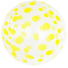Шар (18''/46 см) Сфера 3D, Deco Bubble, Желтое конфетти, Прозрачный, Кристалл, 50 шт.