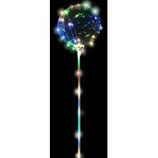 Шар (15''/38 см) Сфера 3D, Deco Bubble в комплекте со светящейся нитью и палкой - ручкой, 1 шт