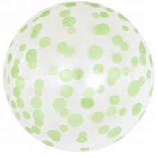 Шар (18''/46 см) Сфера 3D, Deco Bubble, Зеленое конфетти, Прозрачный, Кристалл, 50 шт.