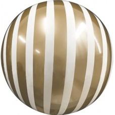 Шар (18''/46 см) Сфера 3D, Deco Bubble, Белые полосы, Золото, 1 шт. в упак.