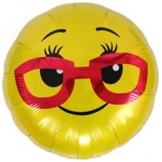 Шар (18''/46 см) Круг, Смайл в красных очках, Желтый, 1 шт.