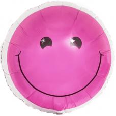 Шар (18''/46 см) Круг, Смайл, Розовый, 1 шт.