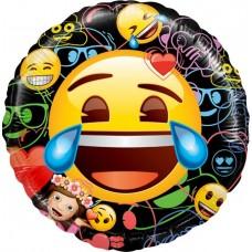 Шар (18''/46 см) Круг, Смайл, Emoji, Черный, 1 шт. в упак.