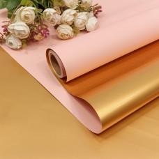 Упаковочная пленка (0,58*10 м) Светло-розовый/Золото, Металлик, 1 шт.