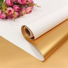 Упаковочная матовая пленка (0,58*10 м) Белый/Золото, Металлик, 1 шт.