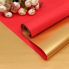 Упаковочная пленка (0,58*10 м) Красный/Золото, Металлик, 1 шт.