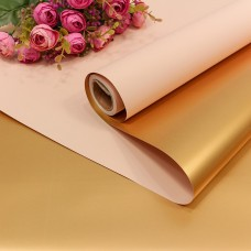 Упаковочная пленка (0,58*10 м) Абрикосовый/Золото, Металлик, 1 шт.