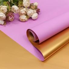 Упаковочная пленка (0,58*10 м) Светлая слива/Золото, Металлик, 1 шт.