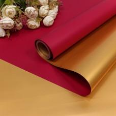 Упаковочная пленка (0,58*10 м) Бордово-красный/Золото, Металлик, 1 шт.