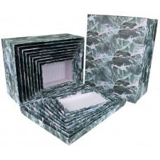 Набор коробок, Мраморная текстура, Серый, 37*29*16 см, 10 шт.