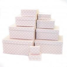 Набор коробок Белые точки, Пудровый, 24*22*11 см, 10 шт.