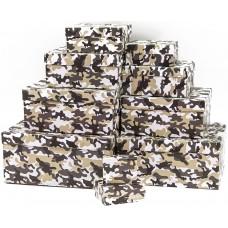 Набор коробок, Охотничий камуфляж, Бежевый, 24*22*11 см, 10 шт.