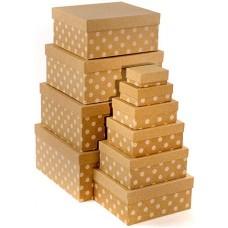 Набор коробок Белые точки, Крафт, 24*22*11 см, 10 шт.
