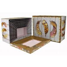 Набор коробок, Перья Бохо, Серый, 37*29*16 см, 10 шт.