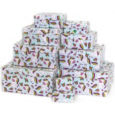 Набор коробок Влюбленные единороги, 24*22*11 см, 10 шт.