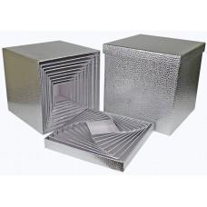 Набор коробок, Куб, Текстура кожи, Серебро, Металлик, 26*26*26 см, 10 шт.