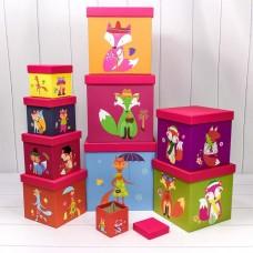 Набор коробок, Модная лиса, Ассорти, 26*26*26 см, 10 шт.