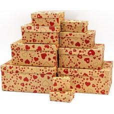 Набор коробок Влюбленные сердца, Крафт, 24*22*11 см, 10 шт.