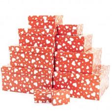 Набор коробок, Мозаика сердец, Красный, 24*22*11 см, 10 шт.