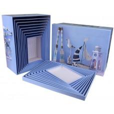 Набор коробок, Морской стиль, Голубой, 37*29*16 см, 10 шт.