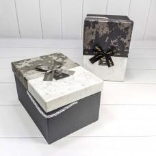 Набор коробок, Happy! (мраморный принт), Серый, 25*14*18 см, 3 шт.