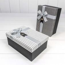 Набор коробок, Wonderful (полоски), Серый, 22*16*9 см, 3 шт.
